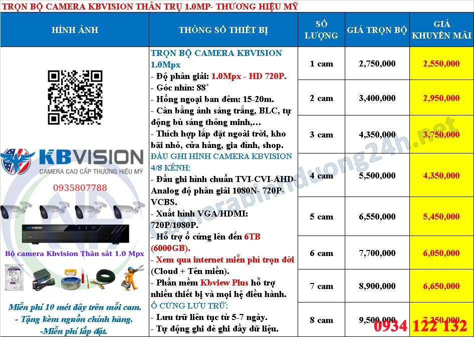 bảng giá camera Kbvision 2.0mp