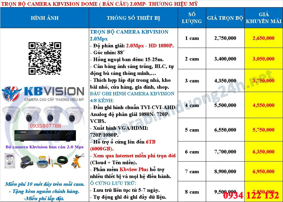 bảng giá camera Kbvision lắp tại Bình Dương