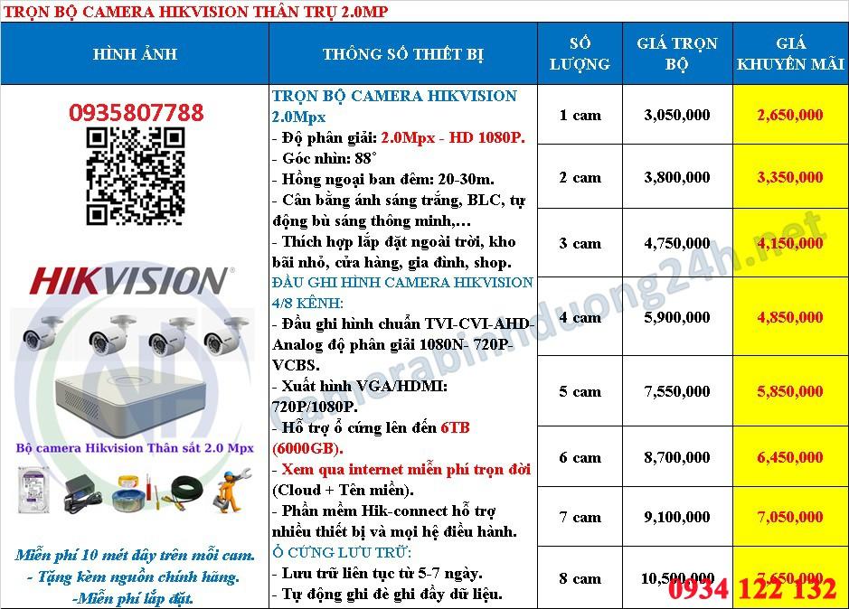 bảng giá camera Hikvision 2.0 mp