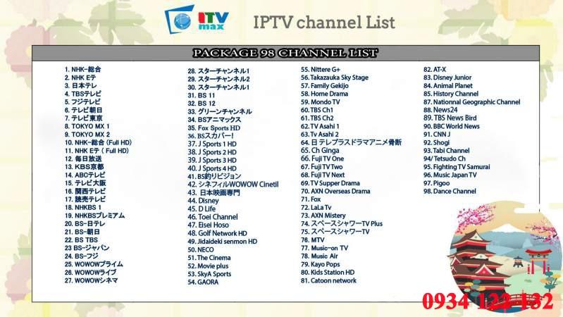 danh sách kênh truyền hình nhật bản